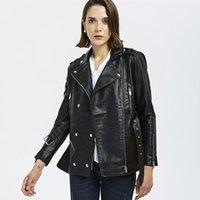 Женские куртки Lanmrem 2021 осень зима сплошной цвет отворота молнии искусственная кожаная куртка женская улица с двубортным пальто PF743