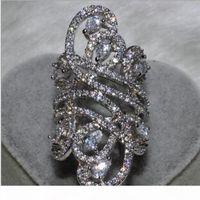 Victoria Wieck الفاخرة مجوهرات واسعة 925 فضة بيضاء توباز مقلد الماس الأحجار الكريمة تشيكوسلوفاكيا زهرة الزفاف المرأة الفرقة gift حجم 5-11