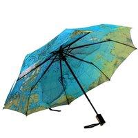 Yaratıcı Tam Otomatik Üç Kat Mavi Harita Şemsiye Yağmur Kadın Kişilik Katlanır Ultra-Hafif Güneş Seyahat Adam Anti-UV Şemsiye
