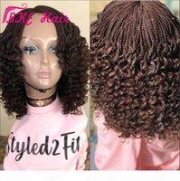 Nouveau Crochet Cheveux Box tresses Burly Wig Black Brown ombre Synthétique Full Dentelle Full Dentelle Front Braids Perruque pour femmes Africaine Amercian
