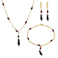 Charm Bracelets Pulsera Mano De Azabache Bebe 18k Gold Filled Lucky Hand Baby Bracelet And Necklace Set For Women Girls Gifts
