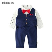 Clothing Sets Baby Boys Gift Set Gentleman Suit 1 2 Birthday Party Clothes Blue Cotton Long Sleeve Toddler Dress