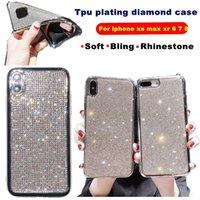 블링 다이아몬드 반짝이 전화 커버 iPhone XS 최대 XR x 6 7 8 플러스 소프트 TPU 도금 라인 석 백 케이스