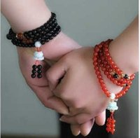 Bracelet Jade lotus 108 National Style black red color fashion couple Buddha beads multi layer Hand Beaded Bracelet female