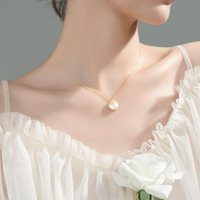 Chains Flash Youandme Genuine 100% 925 Sterling Silver Natural Baroque Pearl Charms Pendant Necklace For Women Korean Party Jewelry