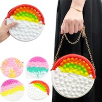 Fidget Push Bubble Sensory Toy Silicone Figetget Popits Crossbody Shoulder Bag Coin Purse Toddlers Wallet for Girls Autism Stress Reliever Squeeze Toys