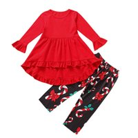 Christmas Girls Outfits Kids Clothing Sets Children Clothes Wear Flared Sleeve Top Dress Trousers Leggings Printed 2Pcs B8470