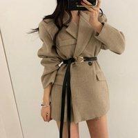 Icclek Neue Koreanische Mode Retro Anzug Kragen Zwei Knopfdesign Slim Langarm Woolen Blazer Jacke mit Gürtelfrauen