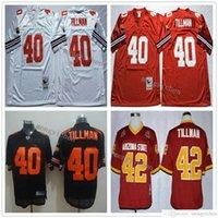 NCAA Erkekler Futbol 40 Pat Tillman Formalar Vintage Ev Kırmızı Beyaz Uzaktan 42 Koleji Nakış En Kaliteli