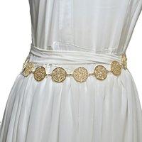 NUOVO modello etnico modello di cinta a gettoni da donna decorativa decorativa da ballo in metallo cintura in metallo marinaio danza sottile cintura
