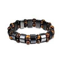 Bangle 1pc Tiger Eye Stones Bracelets For Men Health Magnetic Hematite Beads Wrap Pulseira Masculina Healthy Care Bracelet