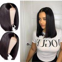 Lace Wigs 2021 Straight Bob Human Hair 4X4 Closure Short Wig Malaysian Frontal