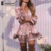 EVERKAKI Ruffles Mini Elbise Kadın Boho Baskı Püsküller Yaz Sashes Boyun Bağladı Kadın Kısa Elbiseler Kadın Bahar Yeni 210309