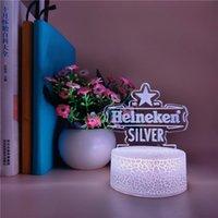 Plug In 3D Night Light LED Famous Beer Desk Lamp Sensor Nightlight Smart Phone Control Room Club Hotel Atmosphere Decoration