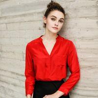 Women's Blouses & Shirts 2021 Pure Silk Long-sleeve Shirt 100% Mulberry Top Women Basic V Neck Blouse S M L