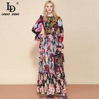 Л.Д. Линда Дэлла Мода взлетно-посадочная полоса лето с длинным рукавом Maxi платье женские эластичные талии цветочный принт Элегантная вечеринка праздник длинное платье 210306