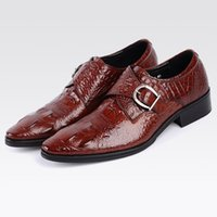 Moda uomo Dress da sposa Scarpe Coccodrillo Genuine Gentleman Gentleman Mens Dress Shoes Shoes Shoes Beneachers Derby Scarpe Derby