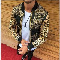 Primavera autunno autunno transfrontaliero europeo americano nuovo uomo abbigliamento da uomo sottile leopardo stampa girocollo giacca casual jackes tuta sportiva cappotti