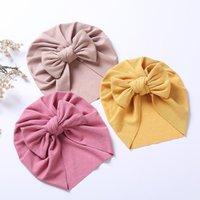 Caps & Hats Sweet Solid Color Bowknot Baby Hat Turban Autumn Winter Warm Kid Girl Boy Beanies Soft Cotton Infant Toddler Head Wrap Bonnet