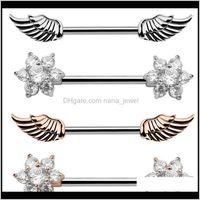 2 unids de alta calidad de zircon y alas de ángel alas de plumas alas de ángel del cuerpo anillos de pezones de la joyería de las mujeres Bar Barbell Anillo penetrante 8DQHQ KPGQD