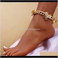 Drop Lieferung 2021 Zirkon Schmetterling Knöchel Armband Kubanische Link Ketten Fußklets Für Frauen Wide Fuß Armbänder Boho Beach Schmuck 7AJMQ