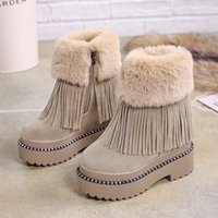 Lucyever Bayan Rahat Püskül Ayak Bileği Çizmeler Sıcak Kürk Kış Tutmak Kar Botları Bayanlar Kalın Platformu Gizli Takozlar Botas Mujer R9SF #