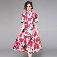 2021 Printed Runway Ribbon Bow A-Line Dress Women Designer Short Sleeve Elegant Office Ladies Sexy Slim Button Shirt Dresses Summer Party Vacation Knee-Length Frock