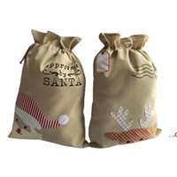 Christmas Decorations 50*70cm gift bags Ping'an fruit linen drawstring bag Party Supplies FWd8945