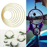 Dekorative Objekte Figuren Metall Blumenreifen Rahmen Blume Ring Kranz Weinrebe Traumfänger Wand Hanging Draht Hochzeit Party Supplies Gold