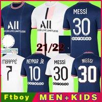 2021 2022 Messi 30 # Mbappe Kean Soccer Jersey 21 22 Sergio Ramos Marquinhos Verratti Kimpembe Maillots de Football Shirt iCardi Enfants Draxler Hommes Kit Kit Uniformes