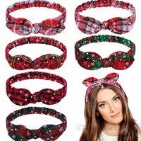 Kızlar Christams Parti Bantları Çocuklar Kar Ekose Tavşan Kulak Hairbands Kadınlar Saç Aksesuarları Çocuk Kafes Yaylar Elastik Headdress Q2648
