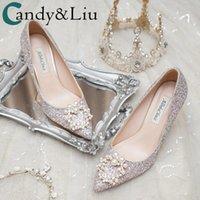 Robe chaussures mariage femmes 2021 mariée haute talon sequine perles décoration de la meilleure qualité métal programme beaux pompes de dame