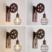 Rural industrial style retro creative wrought iron pulley lamp personality restaurant corridor aisle wall lamps
