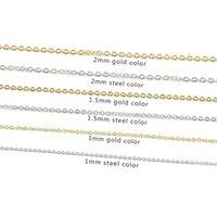 5 unids / lote 40 cm 45 cm 50 cm Acero inoxidable DIY Collar de bricolaje Cadena de cadena Collar 1mm 1.5mm 2 mm Espesor Gold Rose Gold Cadenas de acero