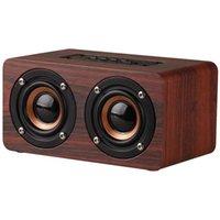 Altavoces portátiles Bluetooth Altavoz de madera Inicio inalámbrico Dual oversterspeakers con interfaz de reproducción de audio auxiliar para teléfono móvil