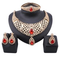 Exquisite Dubai Gold Color Gem Crystal Necklace Earring Jewelry Set Nigerian Wedding Woman Accessories Costume Jewellry Sets