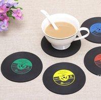 4 ألوان الإبداعية cd كأس حصيرة الرجعية الفينيل الوقايات غير زلة خمر سجل الكؤوس وسادة شريط المنزل الجدول ديكور القهوة حصيرة HWA7046