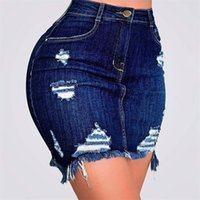 Falda de pantalones vaqueros azules sólidos para mujer Moda de verano Sexy Agujero de cintura alta Casual Lápiz Denim Faldas de mezclilla Mujer con bolsillos S-XXL 210315