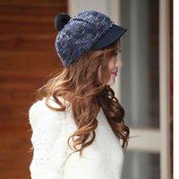 بخنث حافة القبعات النساء الصوف قبعة قبعة الكرة أنيقة سيدة الشتاء الإناث القطن خمر مثمنة عارضة boina الخريف فتاة قبعة