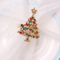 Napkin Rings 12PCS Colorful Diamond Christmas Tree Buckle Holders El Wedding Events Xmas Party Favor Table Decoration