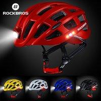 Rockbros Cicling Helmets Ultralight Integralmente-moldado à prova de chuva à prova de chuva MTB Bicicleta de bicicleta Capacete com luz LED