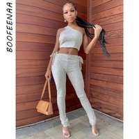 Women's Tracksuits BOOFEENAA Geometric Stripes Fashion Sexy Two Piece Set Women One Shoulder Crop Tops And Pants Sporty Matching Sets C16-CC