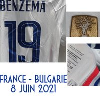 2021 American College Football Wear Jogador Worn Jogador Edição Benzema Maillot vs Bulgária Mbappe Griezmann Giroud Pogba Kante Jersey