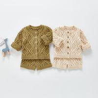 ZHBB INS Newborn Kids Boys Girls Sweaters Clothng Sets Long Sleeve Cardigans Shorts 2pieces Suits