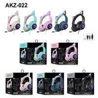 AKZ-022 Auriculares para orejas de gato Auriculares estéreo con micrófono LED LED y control de volumen Auriculares con cable Luces brillantes