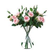Dekorative Blumen Kränze 3 Köpfe Künstliche Pfingstange Tee Rose Camellia Seide Gefälschte Blume Flores für DIY Hausgarten,
