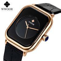 Designer Luxury Marca Relógios R Mulheres Quadrado Es Top Senhoras Vestido De Quartzo Pulso Fashion Black Leather Montre Femme Reloj Mujer