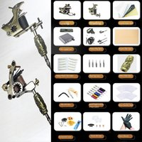 Complete Tattoo Kit 2pcs Coils machine guns Power Supply Needles Tips Grips for Artists