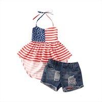 1 6 jaar peuter zomer kids baby meisje onafhankelijkheid dag kleding gestreepte halter mini-jurk top denim shorts
