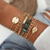Fashion Bohemian Multi-layer Bracelets Golden Star Moon Letter Geometric Crystal Charm Bracelet For Women Jewelry Gift Wholesale